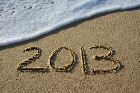 2013 written in the sand  Stock Photo - 16148669