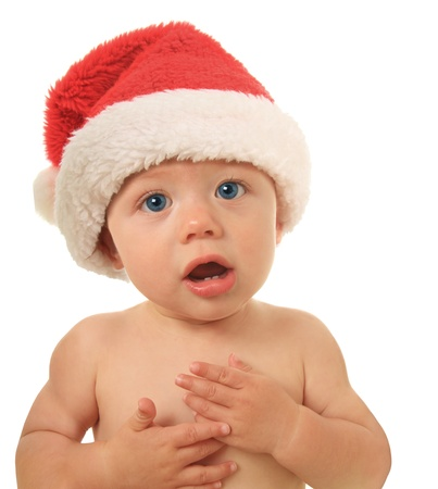 convince: Santa Christmas baby talking to you.  Stock Photo