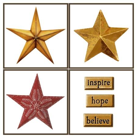 estrellas de navidad: Colección de estrellas de oro y adornos de Navidad para sus proyectos