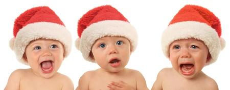 Three Santa Christmas babies, happy, serious and sad Stock Photo - 16222305