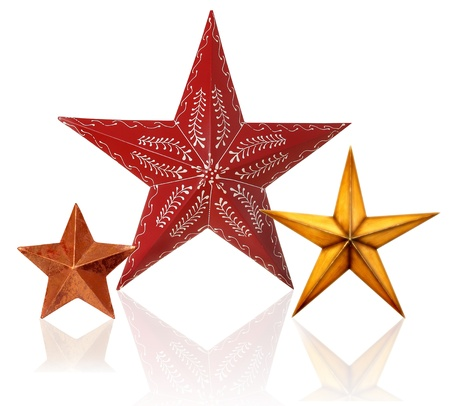Three Christmas stars, isolated with reflection   photo