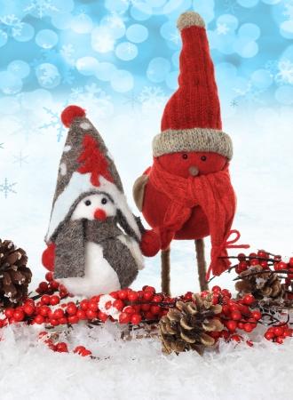 Christmas winter bird ornaments in snow Stock Photo - 16295503