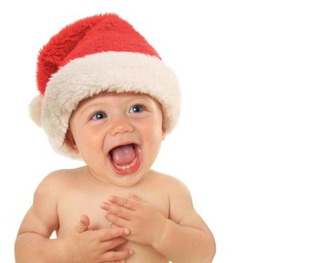 baby kerst: Adorable tien maanden oude Christmas baby Stockfoto