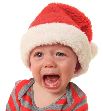 tantrum: Crying Santa baby boy, 10 months old
