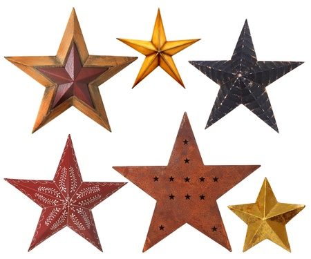 painted wood: Collection of Christmas star ornaments, studio isolated on white