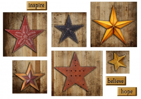 painted wood: Vintage Christmas star collection on a wooden background