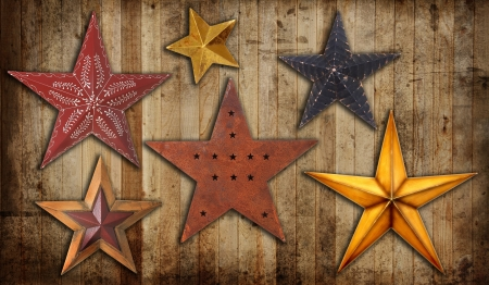Vintage Christmas star collection on a wooden background