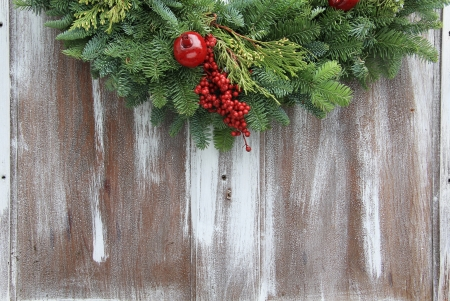 Christmas garland on a rustic wooden background. Stock Photo