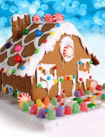 Christmas gingerbread house with candy photo