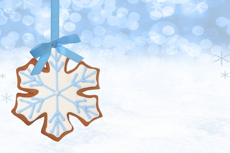 gingerbread: Christmas snowflake gingerbread cookie   Stock Photo
