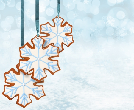 Christmas snowflake gingerbread cookies  photo