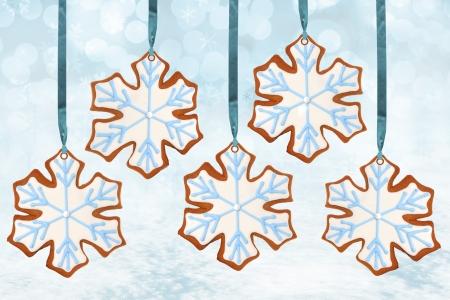 gingerbread: Christmas snowflake gingerbread cookies   Stock Photo