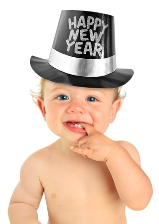 Adorable ten month old baby boy wearing a Happy New Year hat   Stock Photo - 16748296