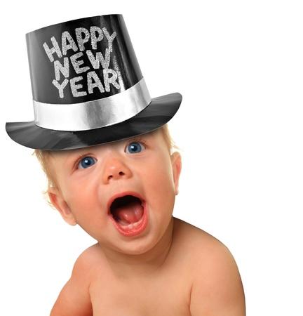 nowy rok: Krzycząc Happy New Year chłopca Zdjęcie Seryjne