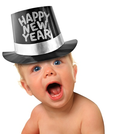 new years eve: Shouting Happy New Year baby boy