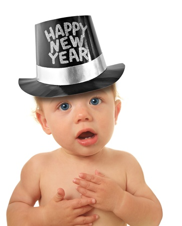 Cute Happy New Year Baby studio isolated on white   Stock Photo - 16796464