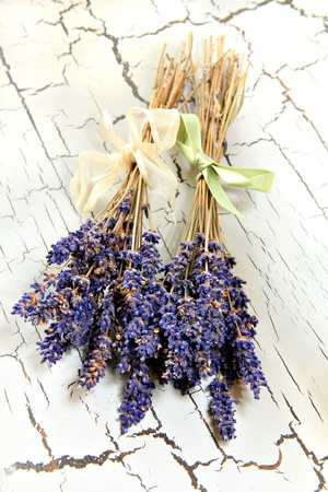 Lavender bunches on a rustic table top Stock Photo - 17359535