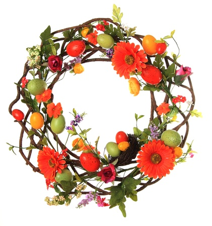 Easter egg wreath studio isolated on white   Stock Photo - 17959975