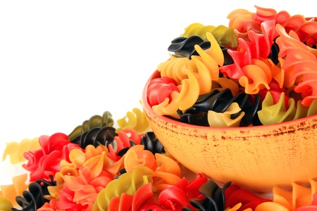 Colorful dry rotini pasta  Stock Photo - 17959977