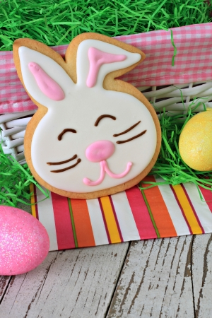 Easter bunny cookie and Easter eggs   photo