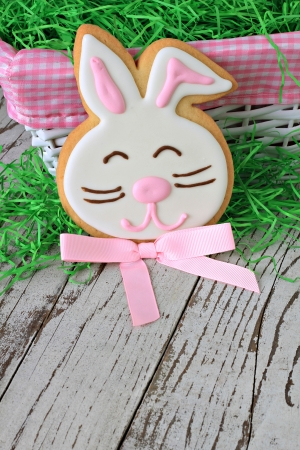 Easter bunny cookie on a weathered wooden background   Stock Photo - 18153569