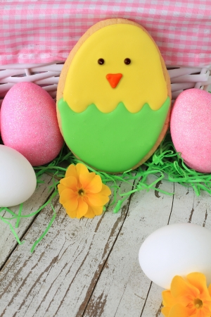 Easter chick cookie with easter eggs   photo