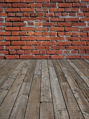 timber floor: Wooden plank floor and brick wall