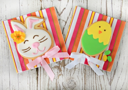 Easter bunny and Easter egg cookies   photo