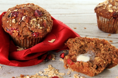 Cranberry bran muffin, also available in vertical   photo