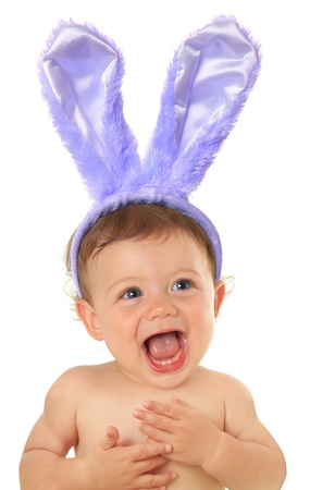 Adorable ten month old Easter bunny baby   photo