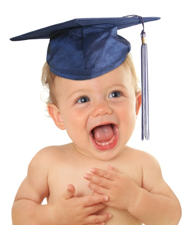 Adorable ten month old baby wearing a graduation mortar board