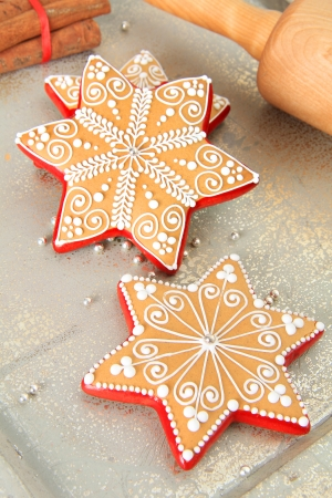Christmas gingerbread sugar star cookies  photo