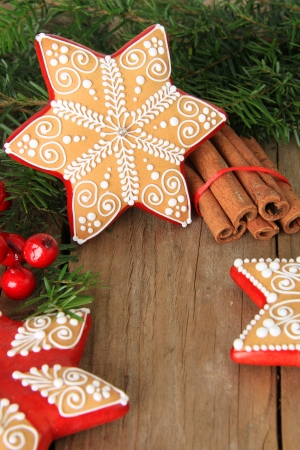 Christmas gingerbread sugar star cookie photo