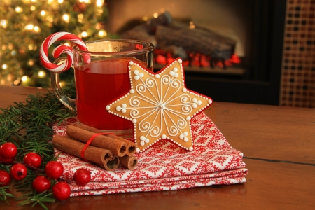 Christmas cookie and hot apple cider by the fireplace  Also available in vertical   Stock Photo