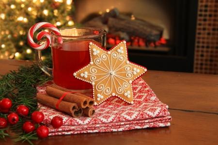 Galleta de la Navidad y la sidra de manzana caliente por la chimenea también disponible en vertical Foto de archivo - 24092860