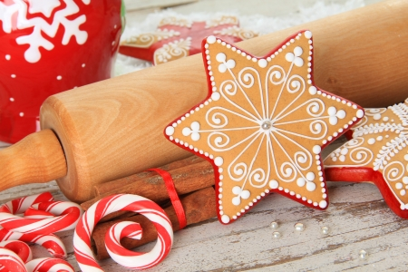 Christmas gingerbread sugar star cookie Stock Photo - 24093019