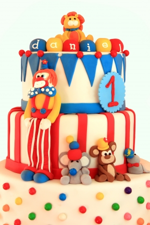 fondant fancy: Fun circus themed birthday cake