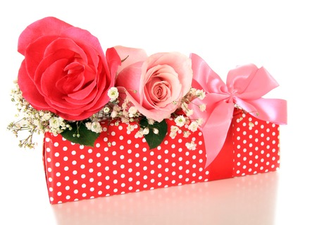 Romantic present and roses photo