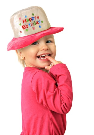 two year old: Happy smiling two year old Birthday girl. Stock Photo