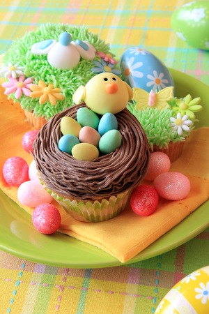 Easter eggs and Easter cupcakes photo