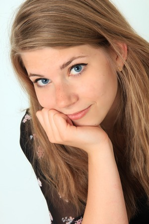 Beautiful friendly teenage girl   Stock Photo