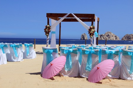 Beach wedding ceremony set up in Cabo San Lucas  Also available in vertical   photo
