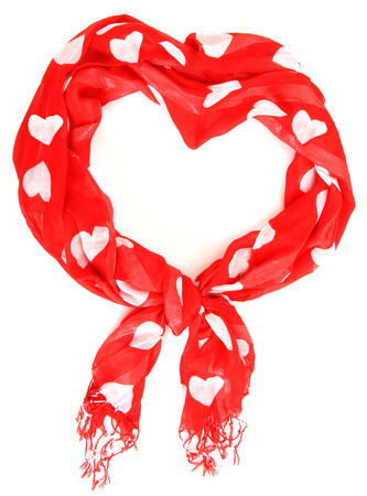 red scarf: Red scarf with Valentine hearts tied into a heart shape