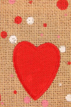 valentijn hart: Red Valentine hart op jute doek.