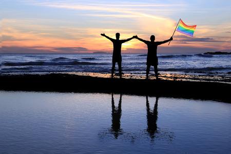 hombres gays: Silueta de una pareja gay que sostiene una bandera del orgullo del arco iris al atardecer.