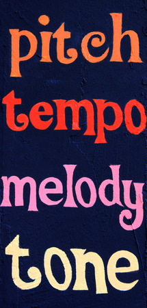tempo: Pitch tempo melody tone,painted on a stucco wall. Part of a series.