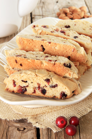 Freshly baked almond and cranberry biscotti. Also available in horizontal. photo