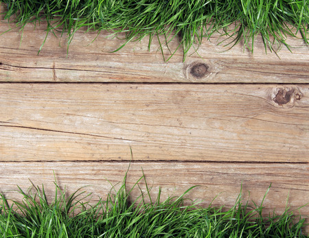 barrier: weathered wooden plank fence and grass. Stock Photo