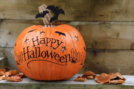 cute halloween: Happy Halloween pumpkin. Also available in vertical. Stock Photo