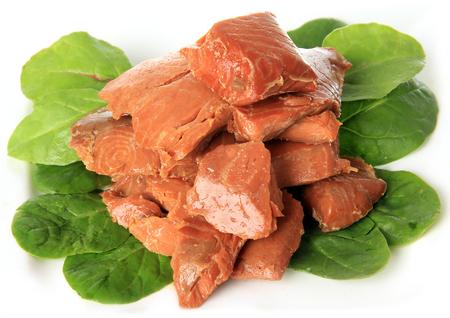 salmons: Canadian smoked Salmon nuggets.